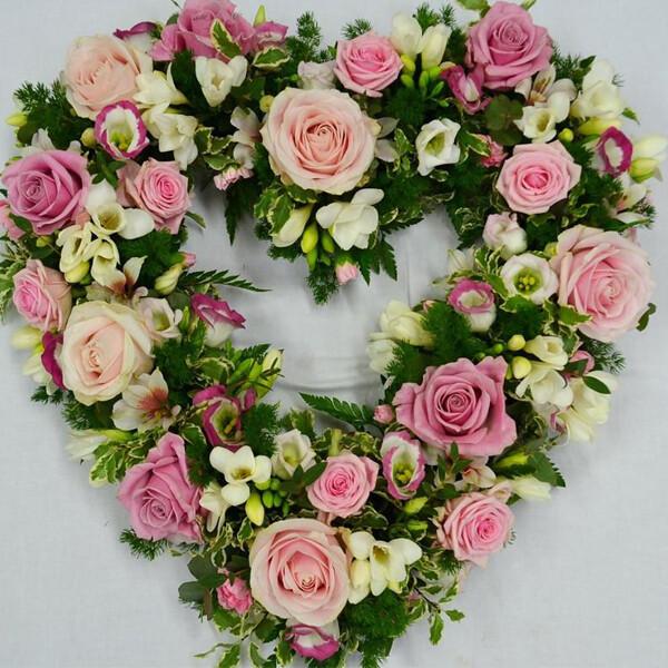 hear shaped sympathy flowers flower delivery Dublin